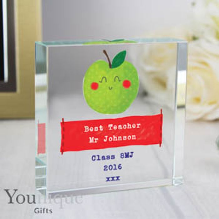 Personalised Apple for the Teacher Large Crystal Token