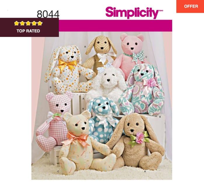 Simplicity Stuffed Animals Sewing Pattern 8044