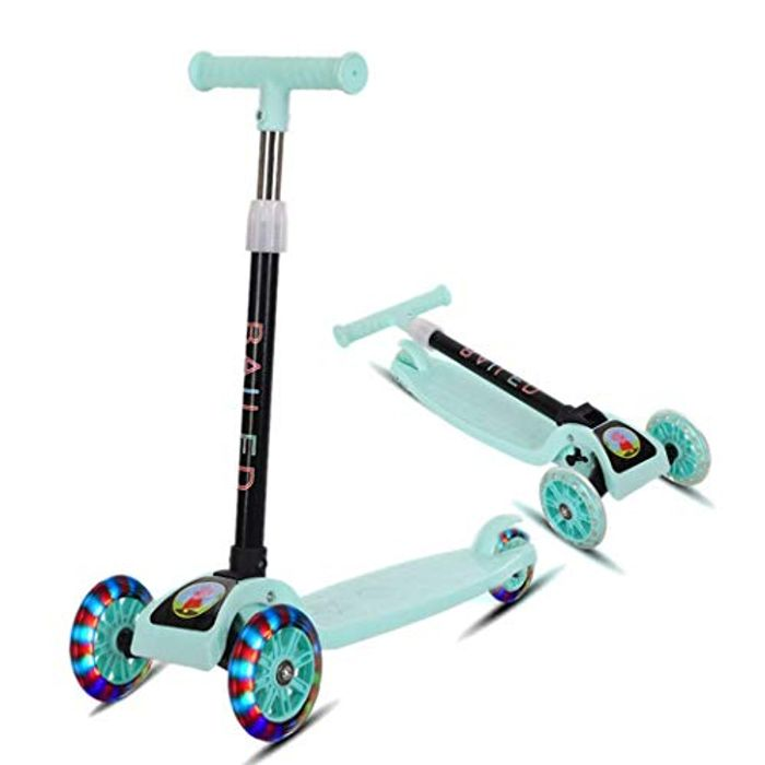 Amilses Folding Children Kick Scooters, 4 Adjustable Height 3 Wheels Scooters