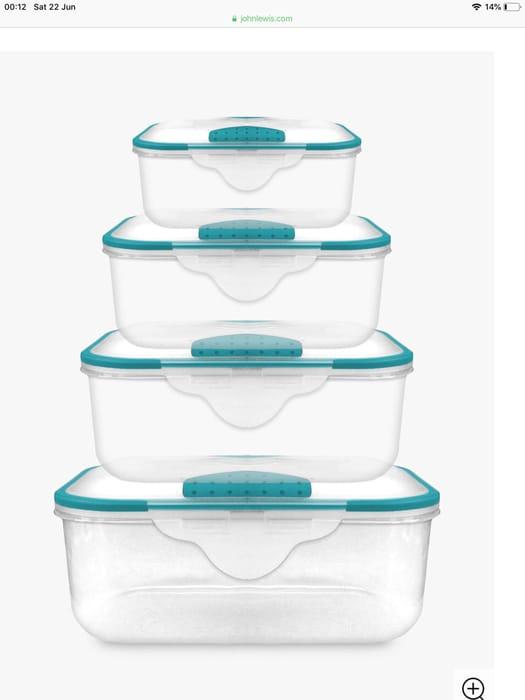 John Lewis & Partners Lock 'N' Seal Plastic Storage Containers, Set of 4