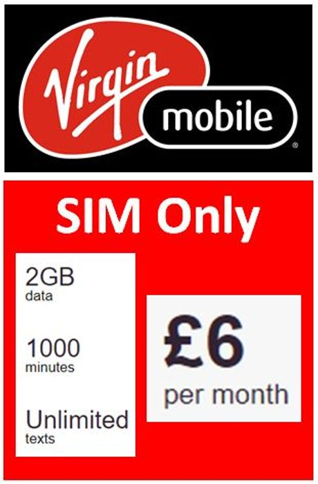 Virgin Mobile SIM ONLY, 2GB, 1,000 Mins, Unlimited Texts, £6 a Month