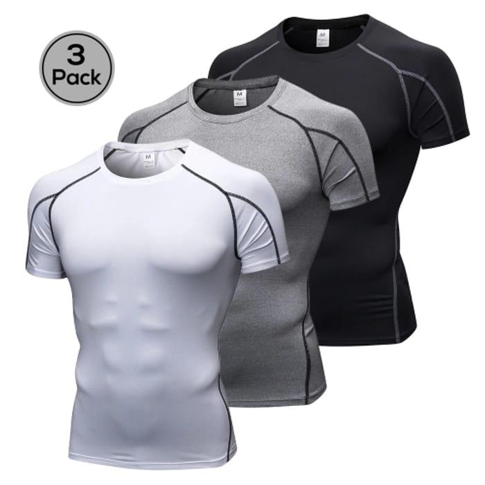 Lixada Pack of 3 Men Short Sleeve Compression Shirt