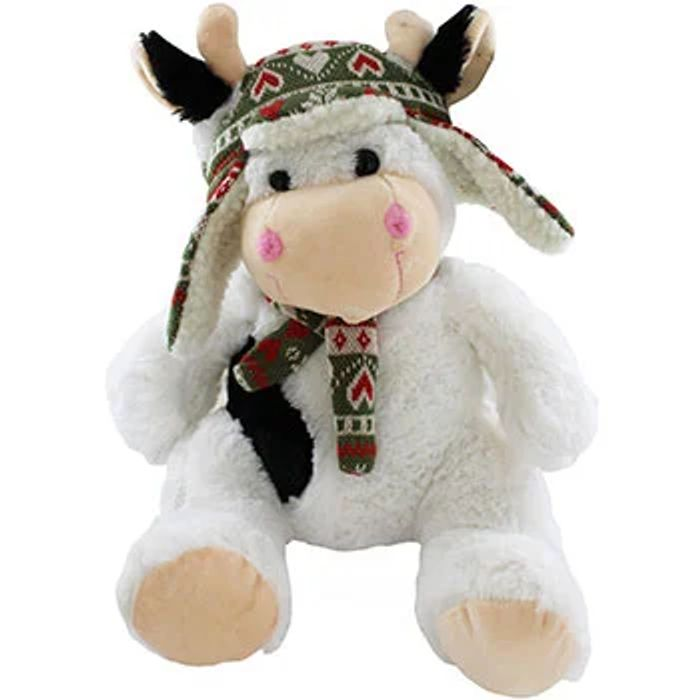 CUTE Winter Woolies Sitting Cow Soft Toy