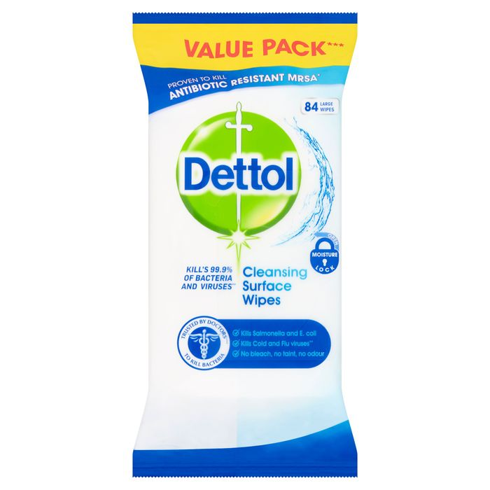 Save 50% Dettol Surface Cleanser 84 Antibacterial Wipes