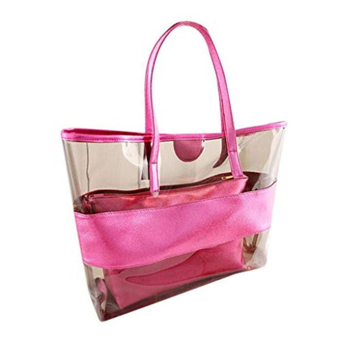 SMILEQ Fashion Tote Bag Lady Large Capacity Transparent Beach Jelly Handbag