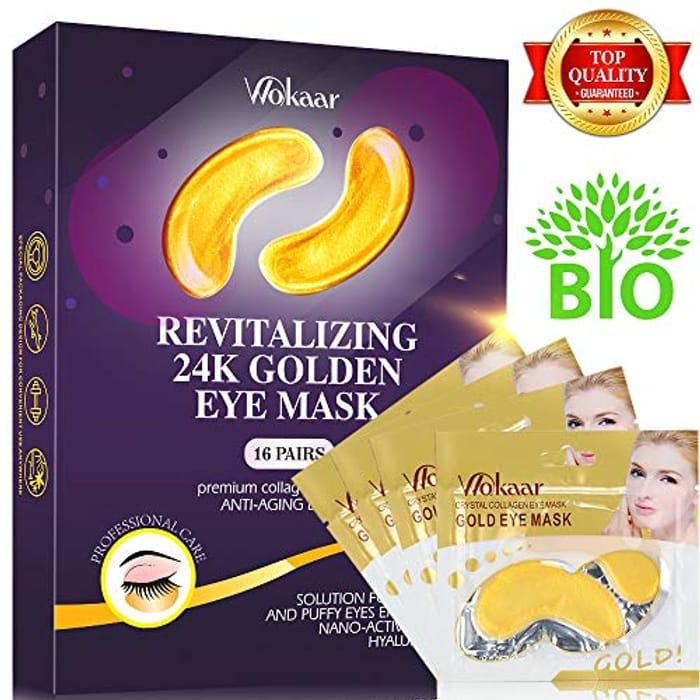 60% off 24K Gold Eye Mask for Puffy Eyes Dark Circles Crystal Collagen Eye