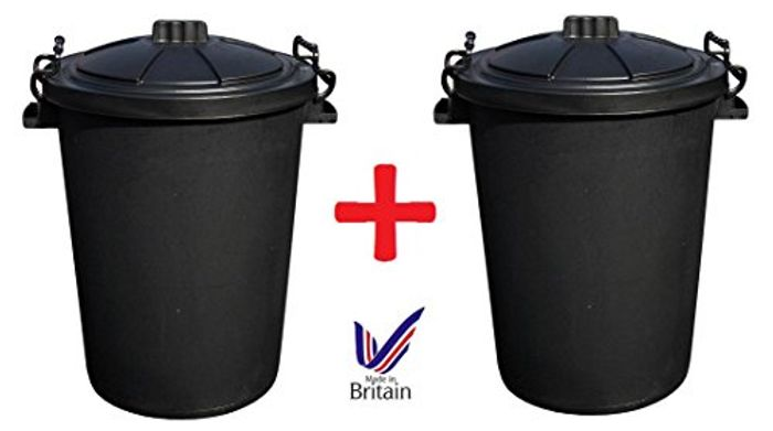 2 X Large 80/85L Litre Black Plastic Bin Rubbish Dustbin