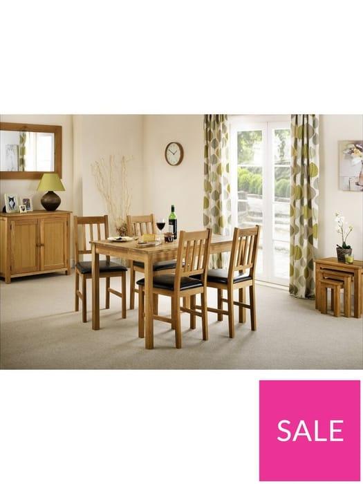 Julian Bowen Coxmoor 118 Cm Solid Oak Dining Table + 4 Chairs