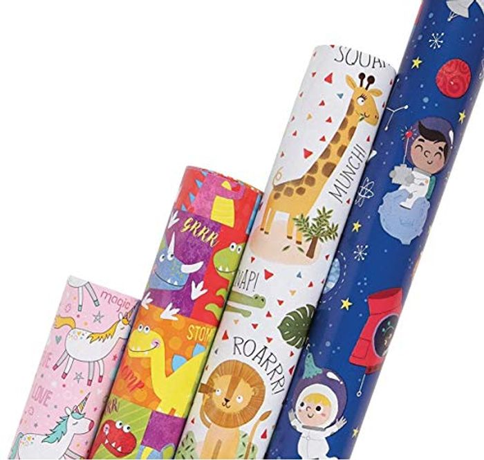 Birthday Gift Wrapping Paper Rolls for Children 70cm X 300cm, 4 Design Supplied
