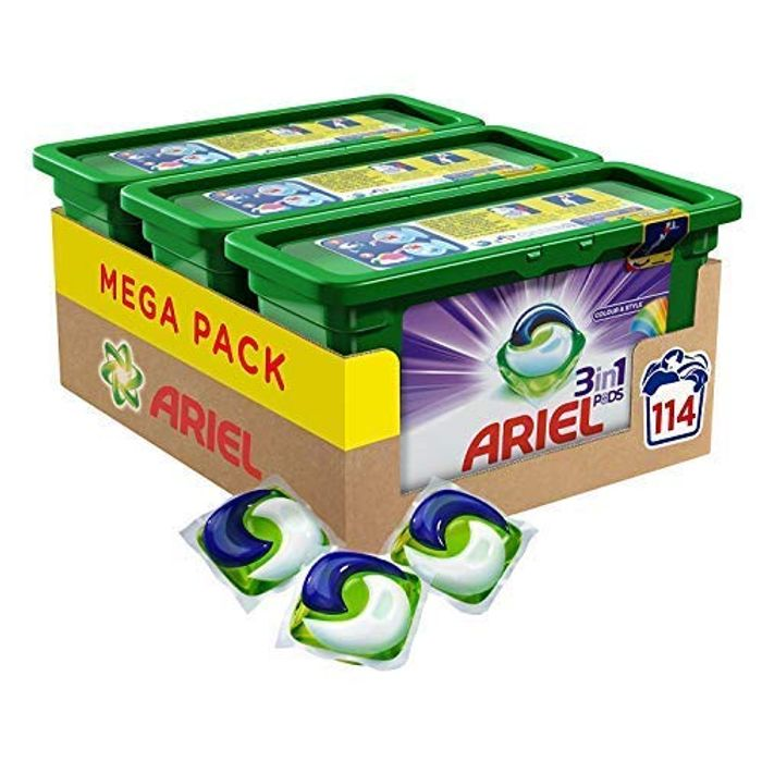 Ariel 3-in-1 Pods Colour & Style, Washing Liquid Capsules, 114 Washes (3x38)