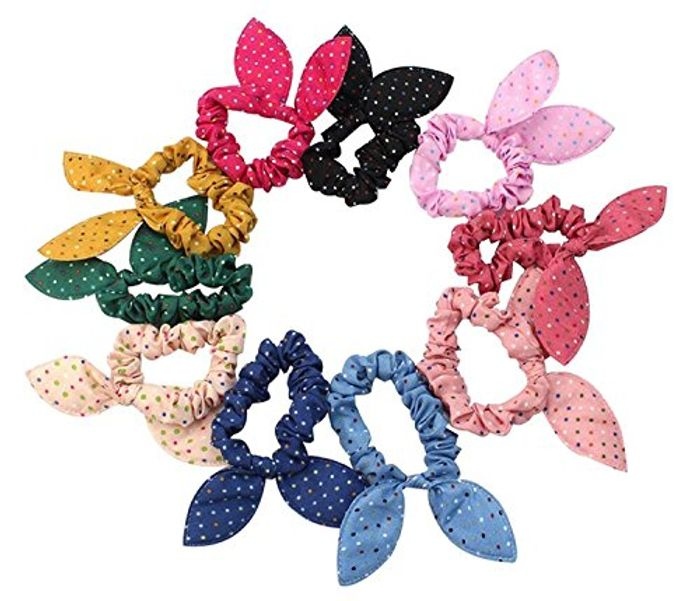 10Pcs Rabbit Ear Hair Tie Bands