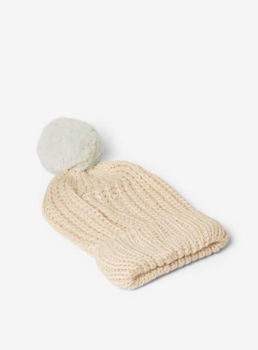 Cream and Mint Pom Pom Beanie Hat - BIG 90% Off