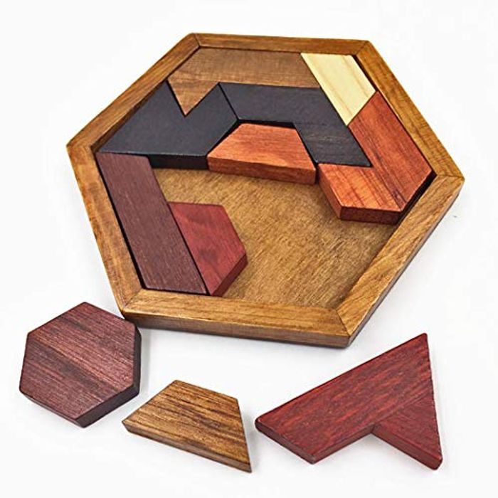 Geometric Shape Wood Puzzle 80% off + Free Delivery