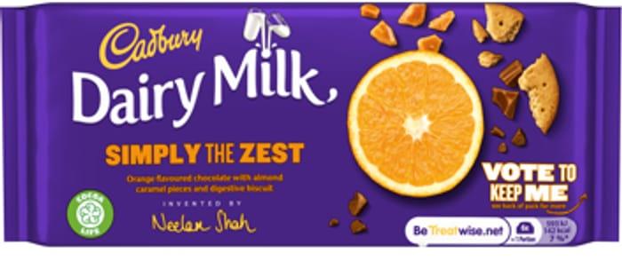 Cadbury Dairy Milk Simply the Zest Orange Chocolate Bar