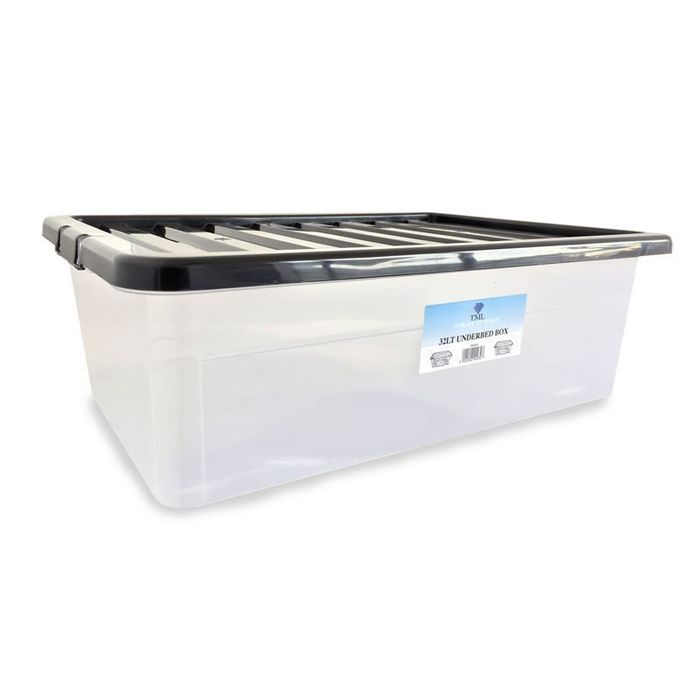 32L TML UNDERBED / STACKING STORAGE CLEAR BOX & BLACK LID 4 for £12