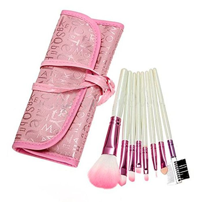 Great Value! 8 Pcs Pink Makeup Brushes Set + Pink Case - Free Delivery