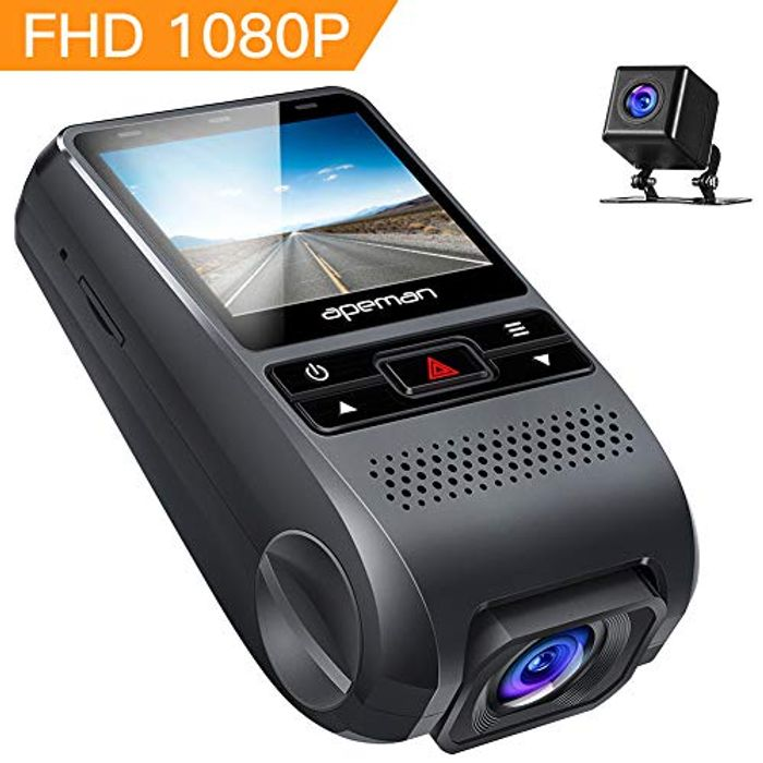 APEMAN Front and Rear 1080P Recording-Detection-Monitoring Dash Cam
