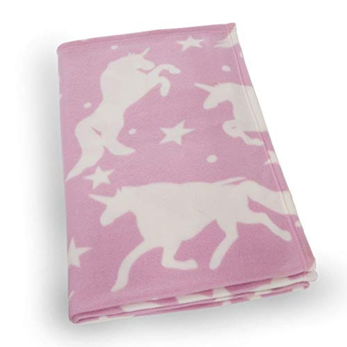 Dreamscene Fleece Blanket, Unicorn Pink-120 X 150 Cm, White Stars, 120 X 150cm
