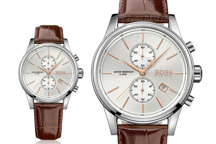 Hugo Boss HB1513280 Mens Jet Brown Leather Chronograph Watch