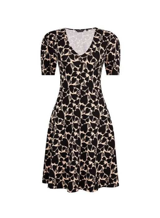 Black Heart Print Tea Dress Down From £24 to £18