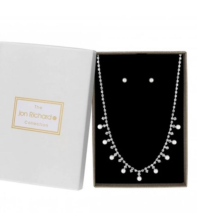 Silver Plated Clear Diamante Pearl Tennis Allway Necklace Matching Set