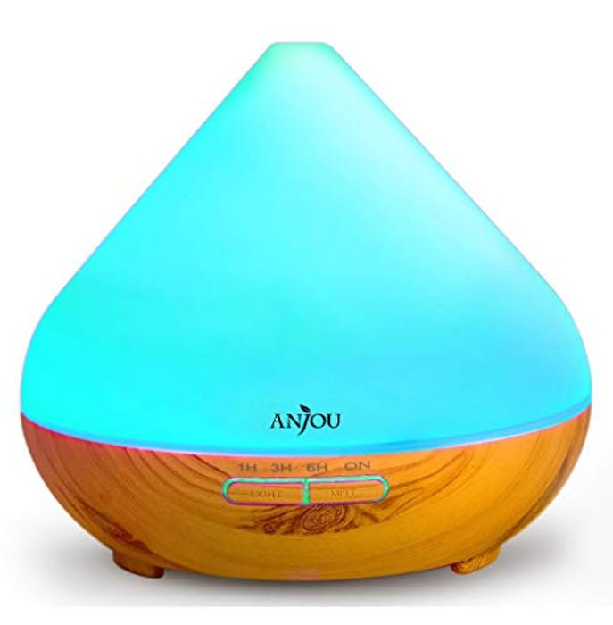Wood Grain Essential Oil Diffuser 300mL with 7 LED Color Options, Cool Mist