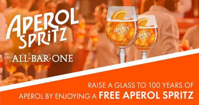 Free Aperol Spritz at Participating All Bar One Outlets Nationwide