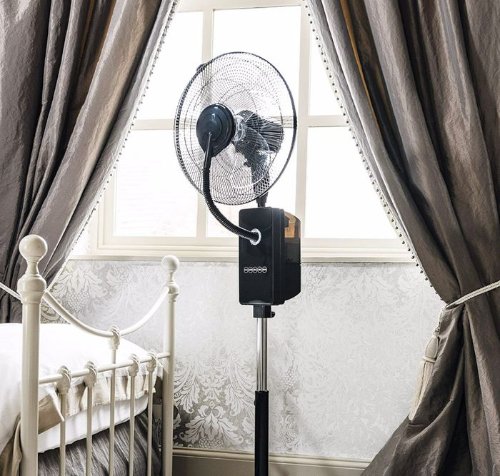 """Ovation Black 18"""" Multi-Functional Oscillating Fan with Humidifying Mist Action"""