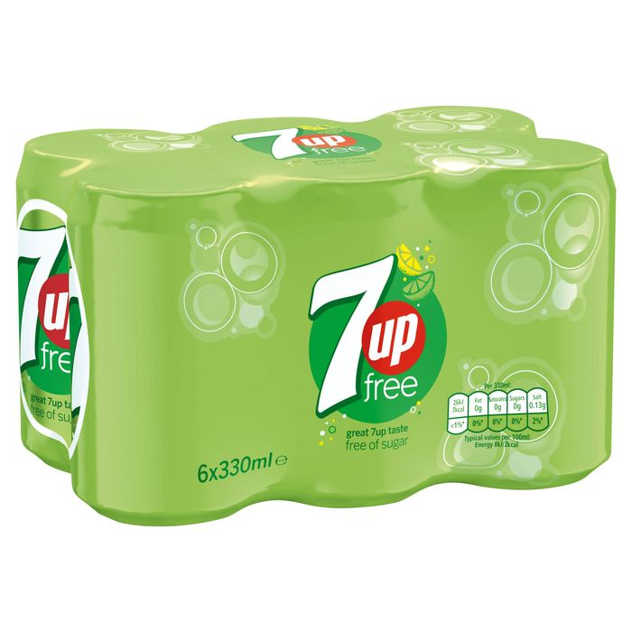 7UP Free Sparkling Lemon & Lime Drink Cans 6 X 330ml