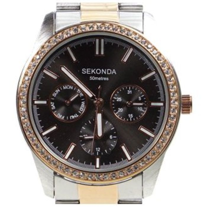 Sekonda Ladies Watch Silver and Rose Plated Crystal Set