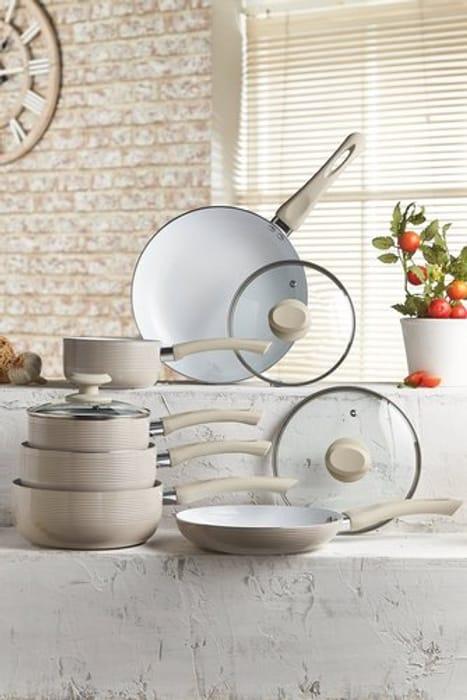 6-Piece Ribbed Ceramic Non-Stick Pan Set