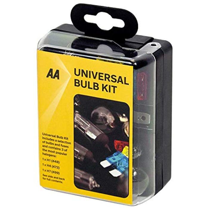 AA Compact Universal Bulb Kit, Inc H1, H4 and H7 Bulbs - Black