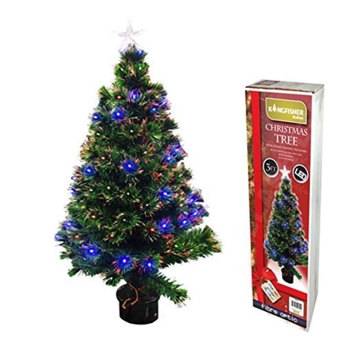 Kingfisher DFO90 Fibre Optic Christmas Tree, Transparent, 90 Cm