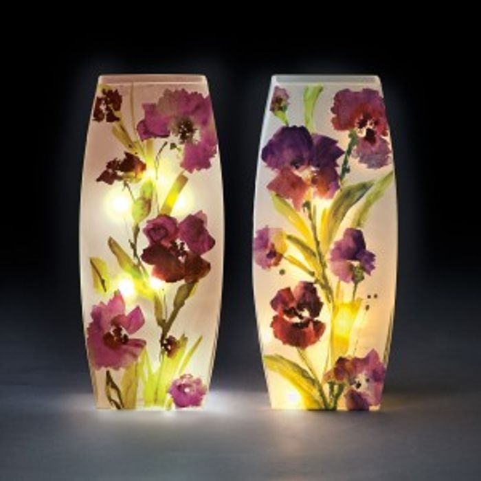 Glass Oval Illuminated Vase with Purple Flower Design.