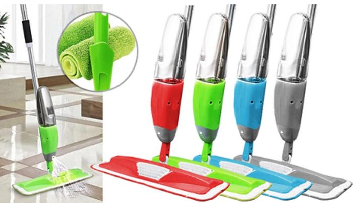 3-in-1 Magic Microfibre Spray Mop with Scraper - plus 2 Replacement Heads!
