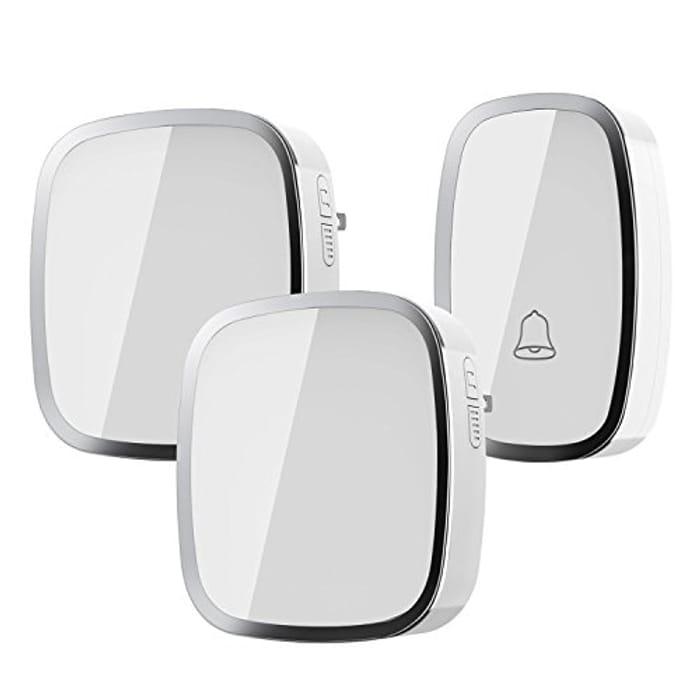 Wireless Doorbell, Weatherproof Wall Plug-in Cordless Door Chime at 1000