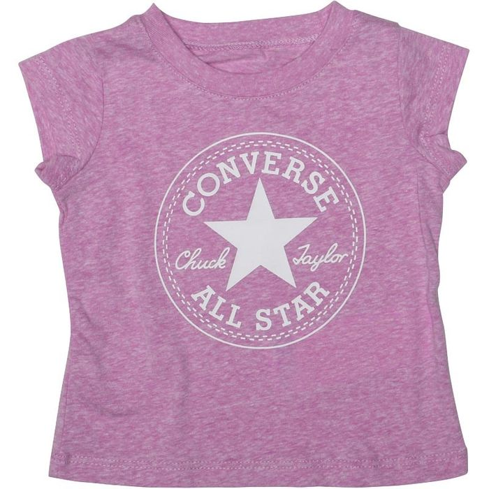 Converse Baby Girls Chuck Patch T-Shirt Fuchsia Glow Snow Heather Only £3.49