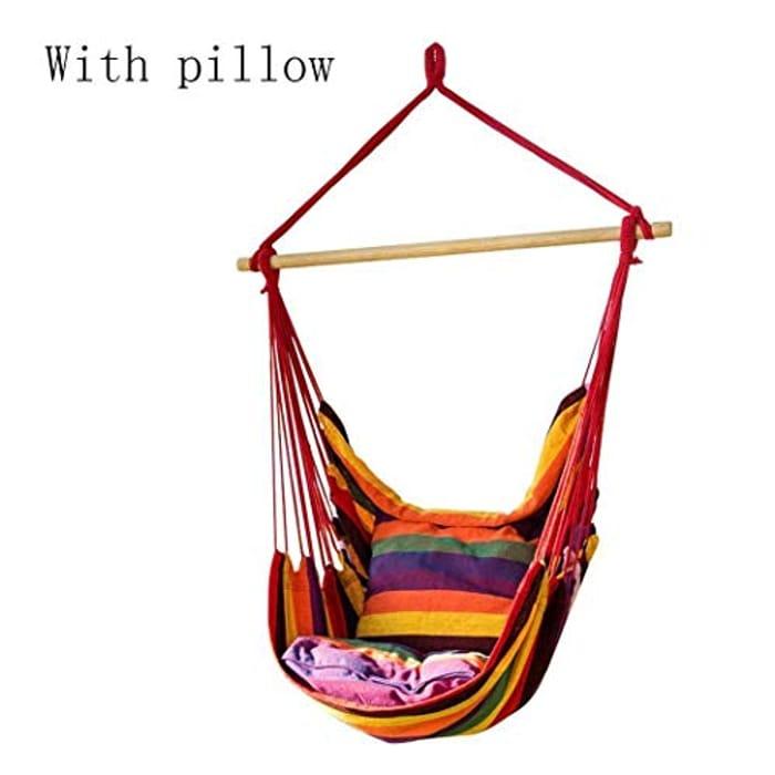 Canvas Swing Chair Hanging Rope Garden Indoor Outdoor Bearing Hammocks
