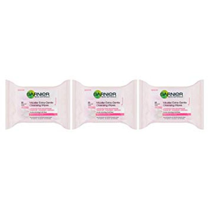 Garnier Micellar Sensitive Skin, 25 Face Wipes (Pack of 3) - Save £6