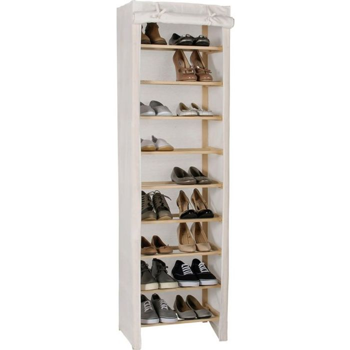 Home Canvas and Pine 9 Shelf Shoe Storage Rack (Cream) - HALF PRICE