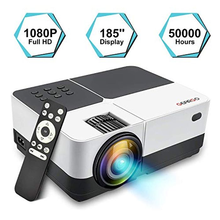 Deal Stack-Projector, GEARGO Video Projector Supports Full HD 1080P 185''