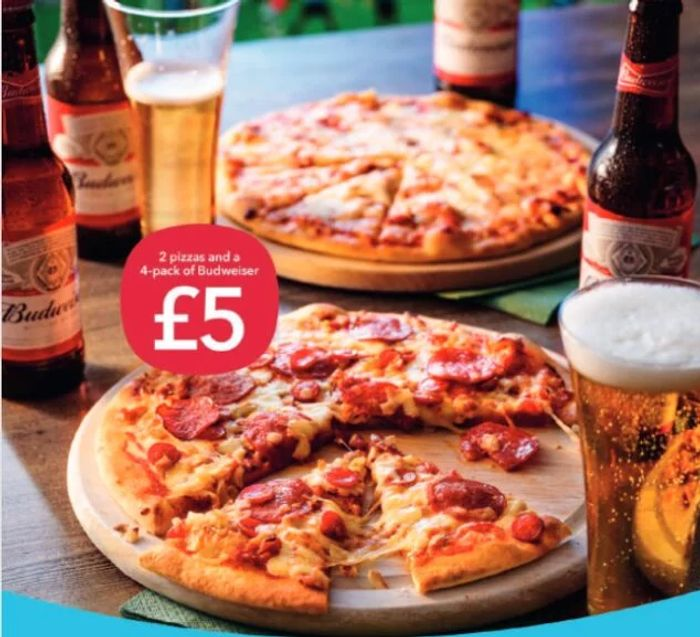 2 Co-Op Stonebaked Pizzas & a 4 Pk of Budweiser for £5