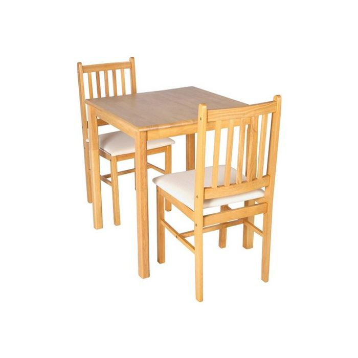 Argos Home Kendal Square Solid Wood Table & 2 Chairs - Cream