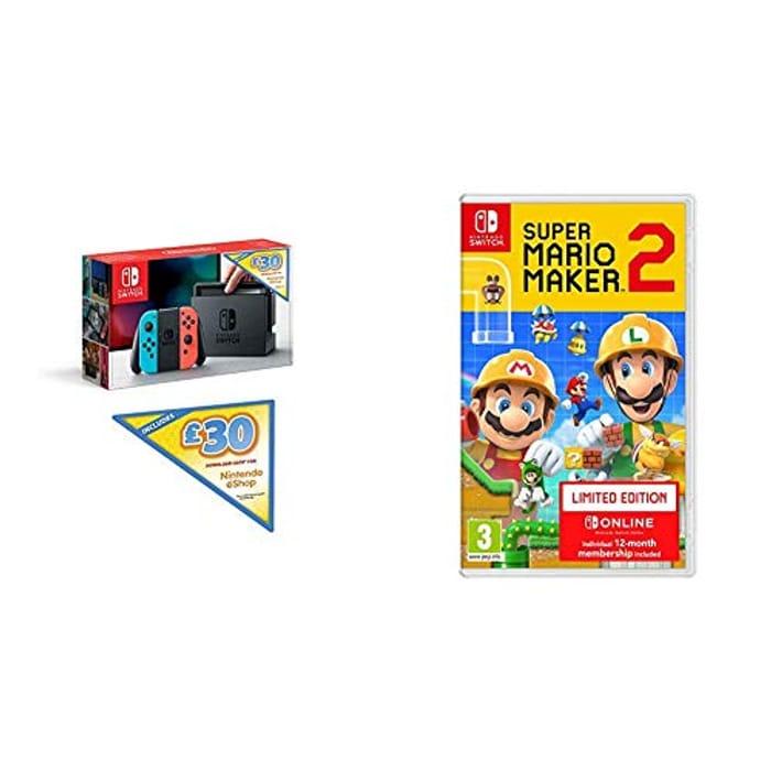 Nintendo Switch with £30 Nintendo E-Shop Credit & Super Mario Maker 2 Ltd Edtn