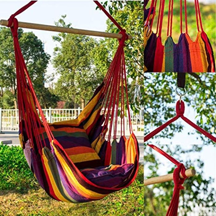 Indoor Outdoor Swing Chair Hanging Hammock 150kg Weight Bearing 15 99 At Amazon Latestdeals Co Uk