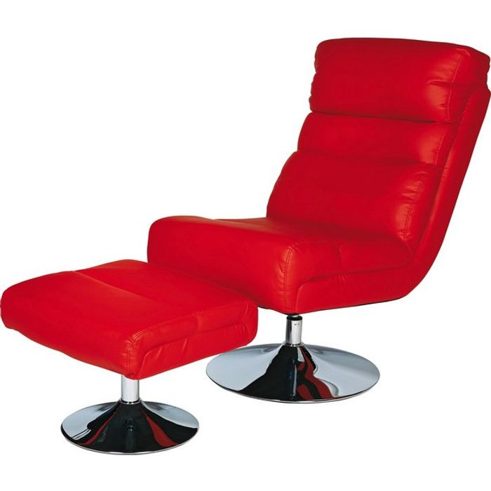 Sensational Argos Home Costa Faux Leather Swivel Chair Footstool Red Gamerscity Chair Design For Home Gamerscityorg