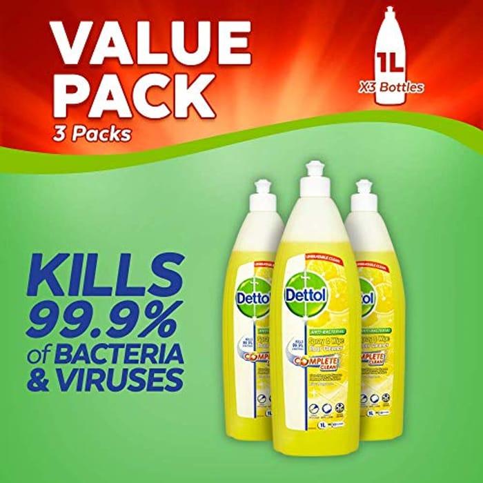 Dettol Spray and Wipe Floor Cleaner, Citrus, 1 Litre, 3 Pack