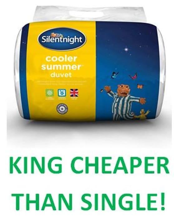 KING CHEAPER THAN SINGLE! Silentnight Cooler Summer 4.5 Tog Duvet