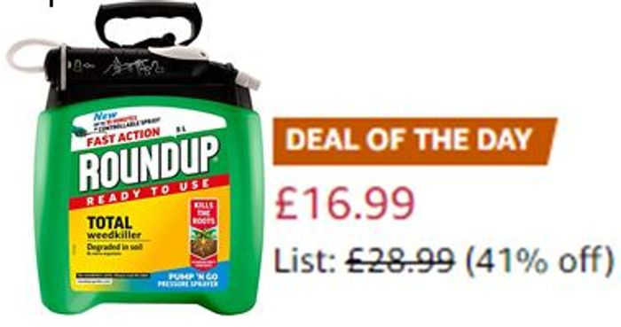 Roundup Fast Action Weedkiller - Pump 'N Go - Ready to Use Spray, 5 Litre