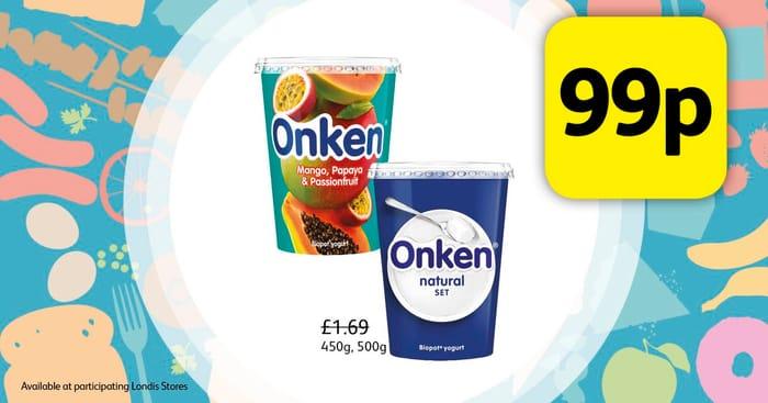 Onken Yoghurts 500g 99p